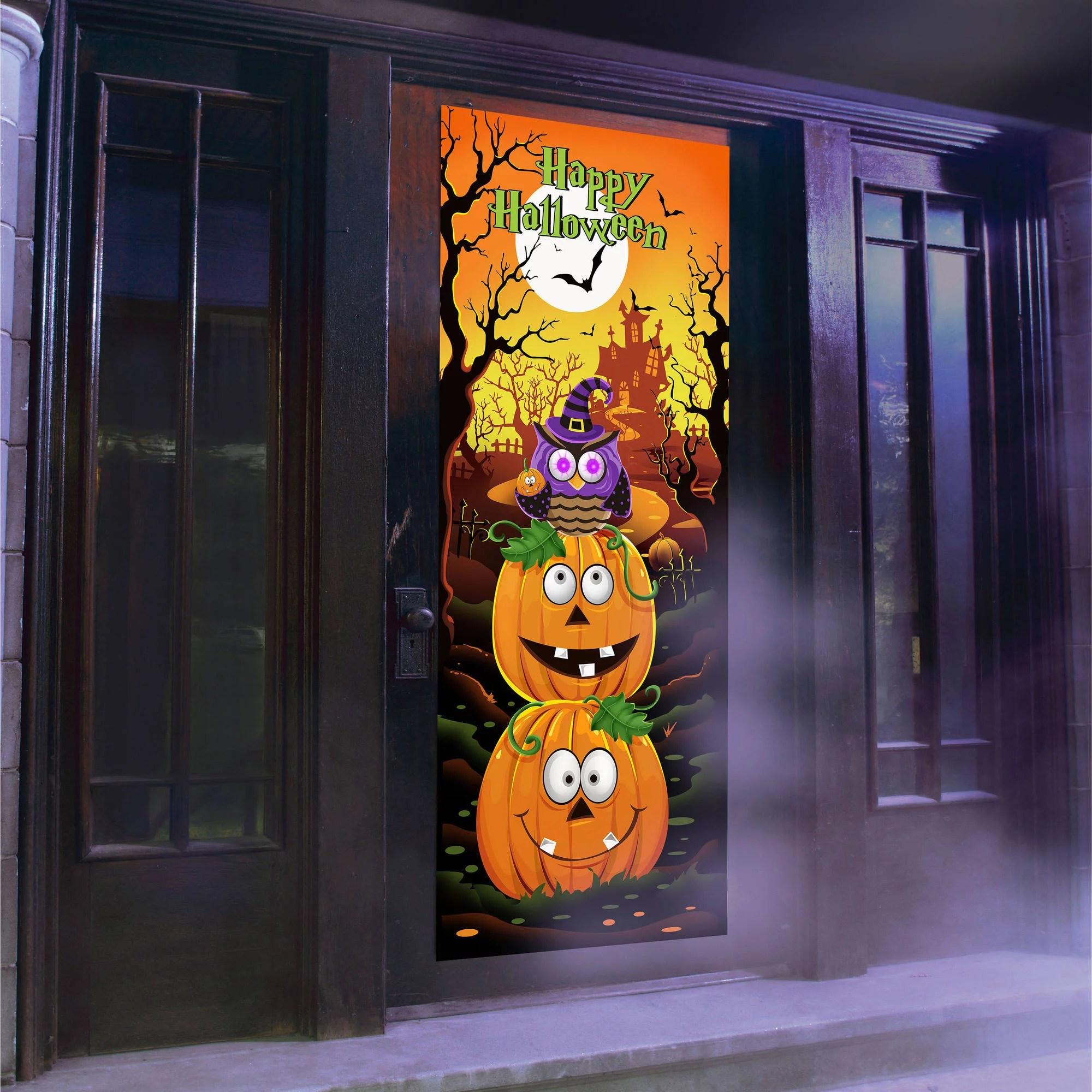 Owl Light and Sound Door Panel Halloween Decoration