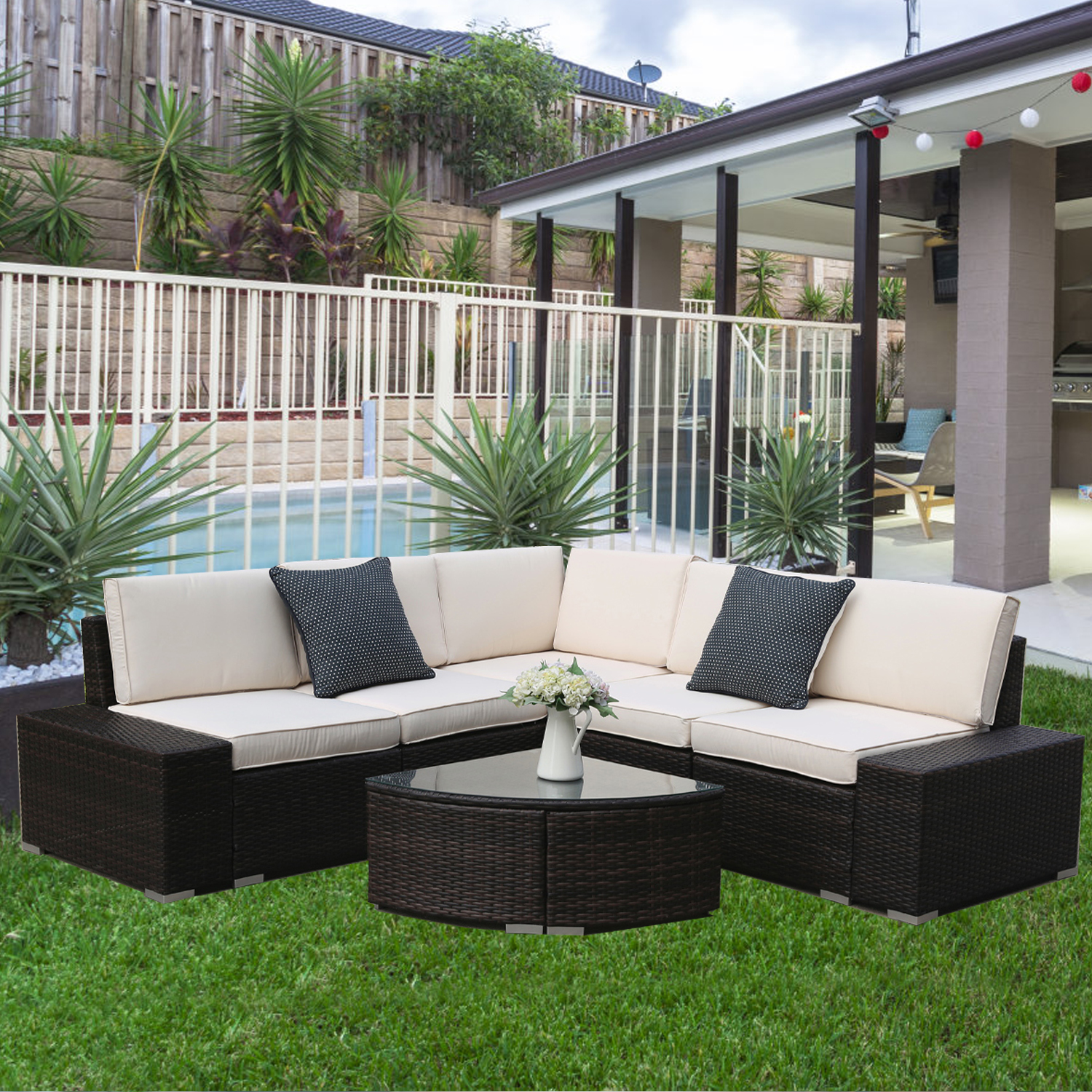 uhomepro outdoor sectional sofa sets 6 piece patio wicker patio furniture set patio sectional with cushions coffee table patio conversation sets