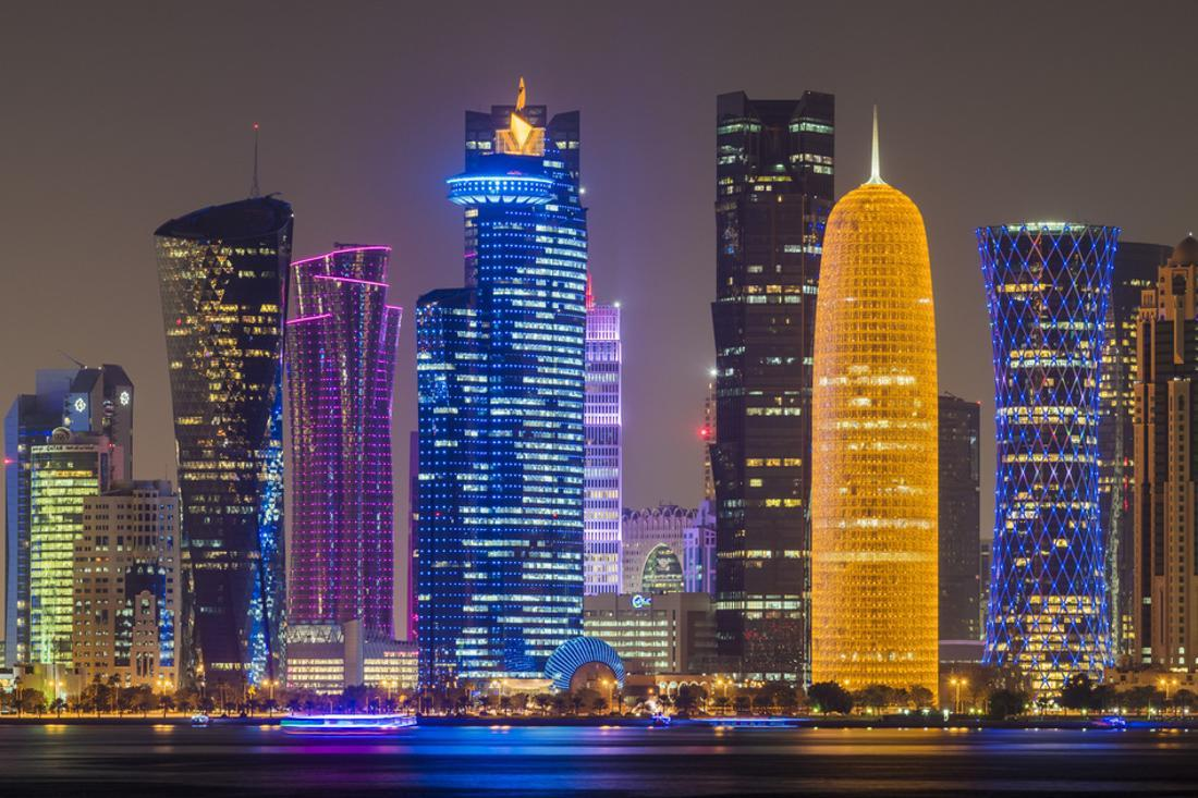 Night View Of The Business District Skyline Doha Qatar
