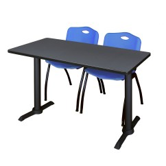 Staples Stacking Chairs Lounge Chair Outdoor Folding Cain 48 Quot X 24 Grey Training Table And 2 Quotm Stack