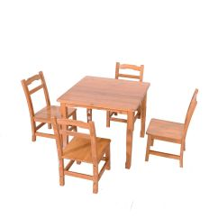 Bamboo Chairs Outdoor Adirondack Zimtown Kids Table And 4 Set Stool For Wood Color Walmart Com