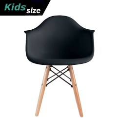 Black Plastic Chair With Wooden Legs Office Chairs Sale 2xhome Kids Size Modern Wood Leg Armchairs Walmart Com