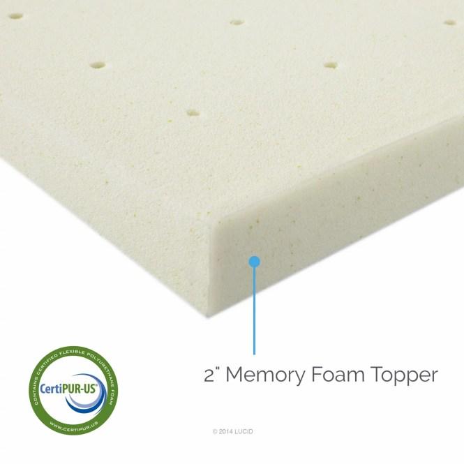 Lucid 2 Ventilated Memory Foam Mattress Topper Multiple Sizes
