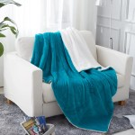 Throw Blanket 50 X60 Teal Sherpa Throw Blanket For Couch Plush Soft Warm Reversible Plush Fleece Bed Couch Blanket Walmart Com Walmart Com