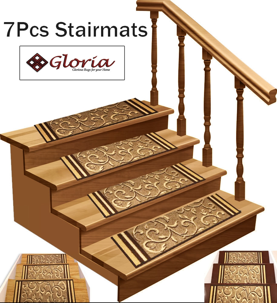 Stair Treads Non Slip Skid Resistant Stair Carpet Set Of 7 8 5   Walmart Outdoor Stair Treads   Rubber Stair   Rubber Backed   Walmart Com   Step Mats   Anti Slip