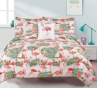 Flamingo Full/Queen 4 Piece Bedding Set Pink Tropical