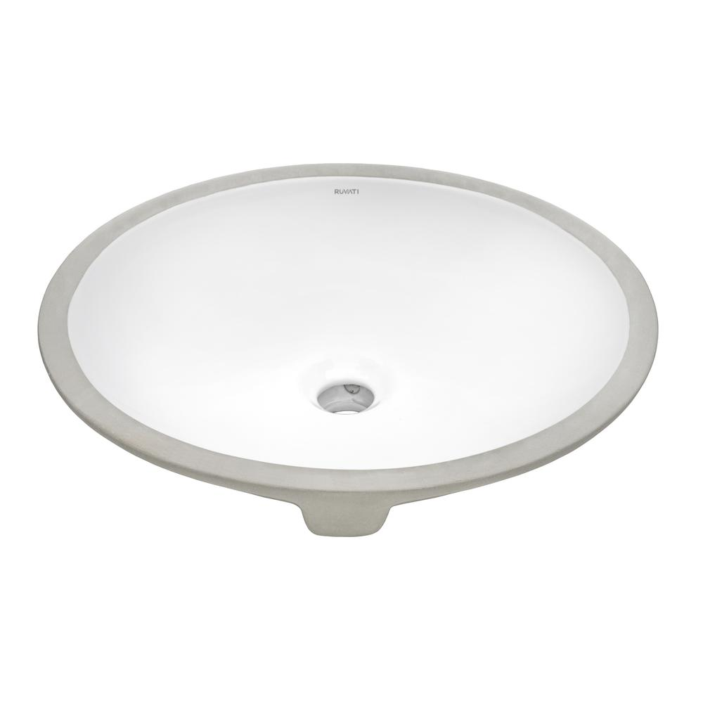 ruvati 16 x 13 inch undermount bathroom sink white oval porcelain ceramic with overflow rvb0618