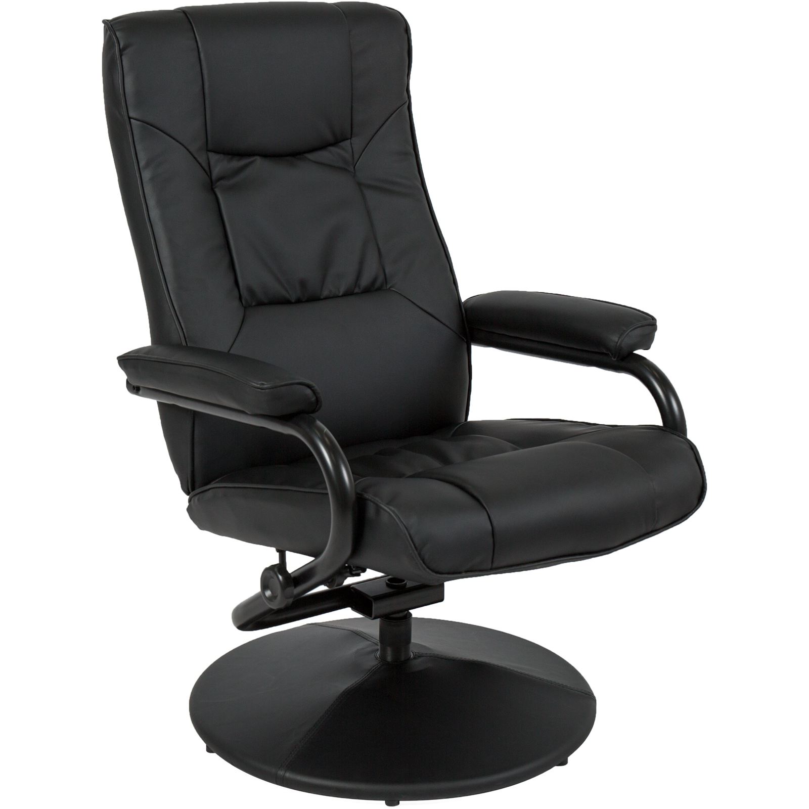 leather swivel recliner chair and ottoman pastel table chairs best choice products for home office w padded armrests stool black walmart com