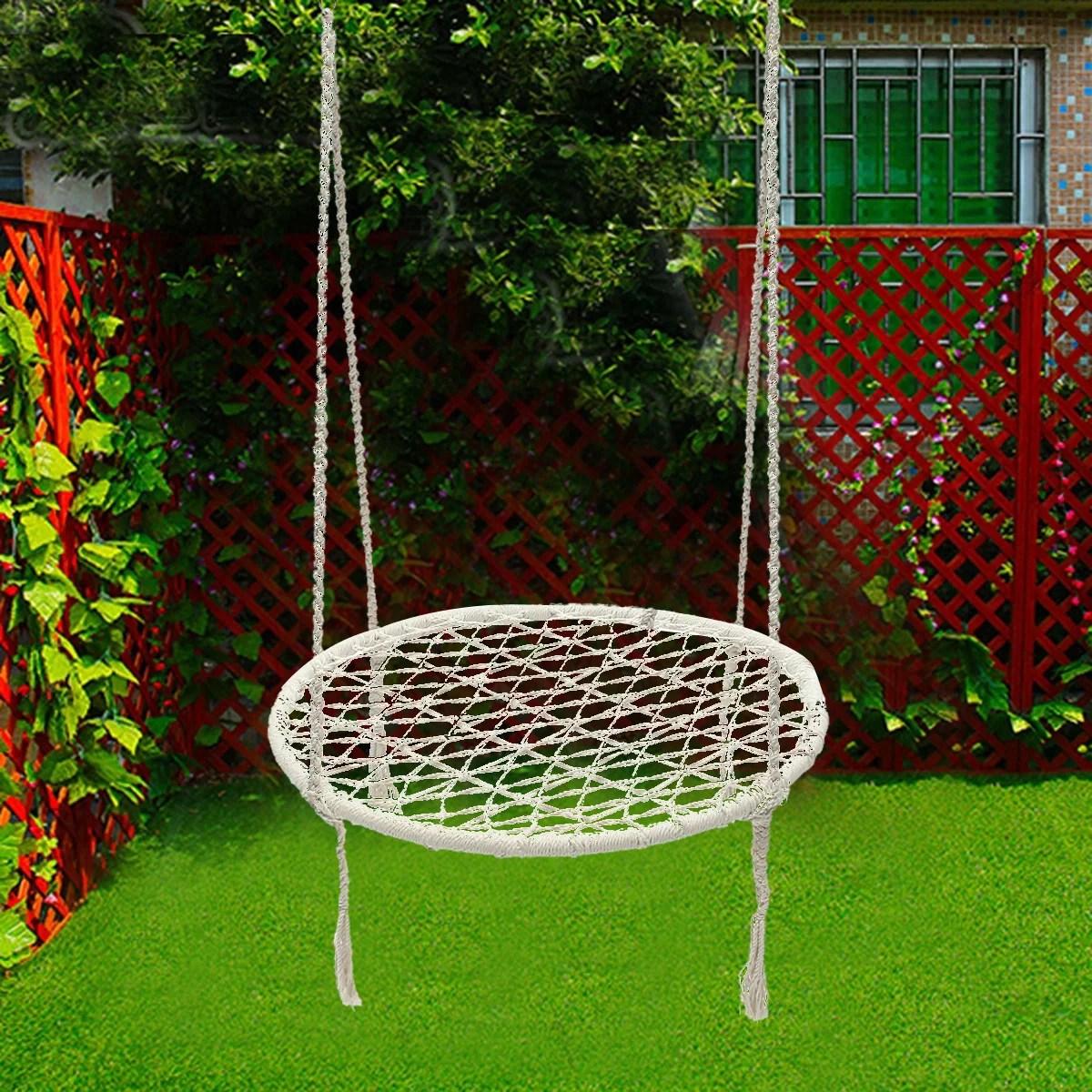 hanging chair swing indoor with stand uk white rope round hammock morocco macrame net handmade 100kg walmart com