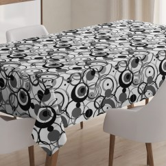 Modern Art Chair Covers And Linens Bean Bags Chairs Canada Abstract Tablecloth Monochrome Circles Dots Surreal Expressionism Inspired Geometric Rectangular Table Cover