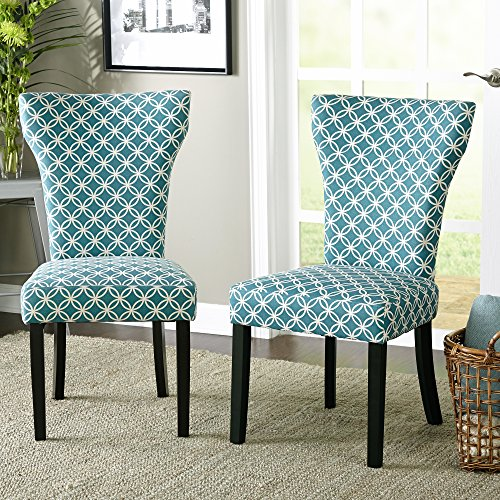 accent dining chairs wicker chair cushions indoor contemporary wood fabric upholstered with piping along the hourglass shaped back