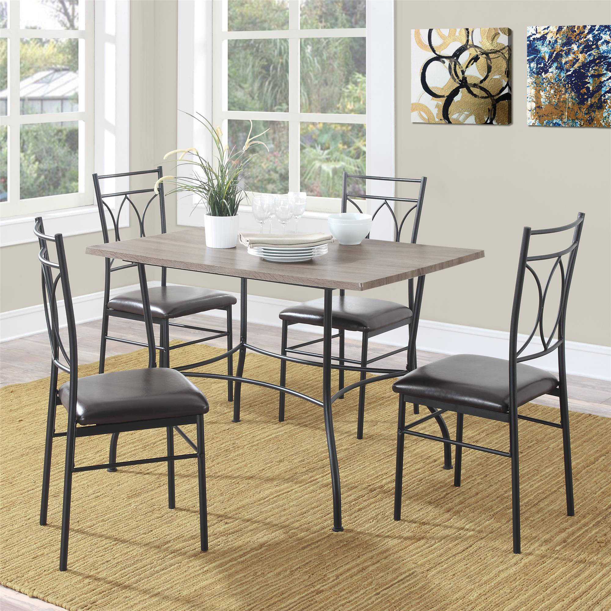 rustic wood kitchen table and chairs transfer shower for elderly dorel living shelby 5 piece metal dining set walmart com
