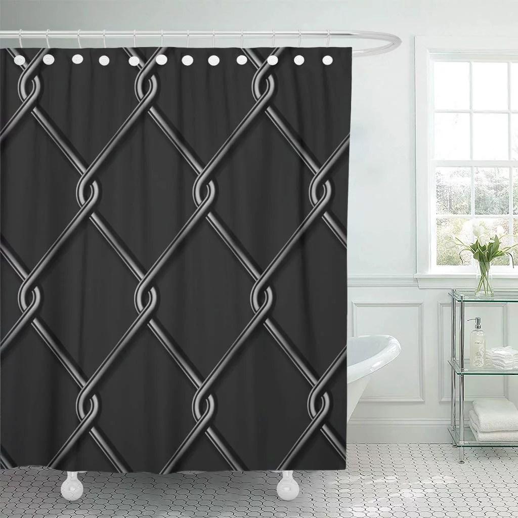 ksadk fence wire mesh black cage prison link metal jail safety bathroom shower curtain 60x72 inch walmart com