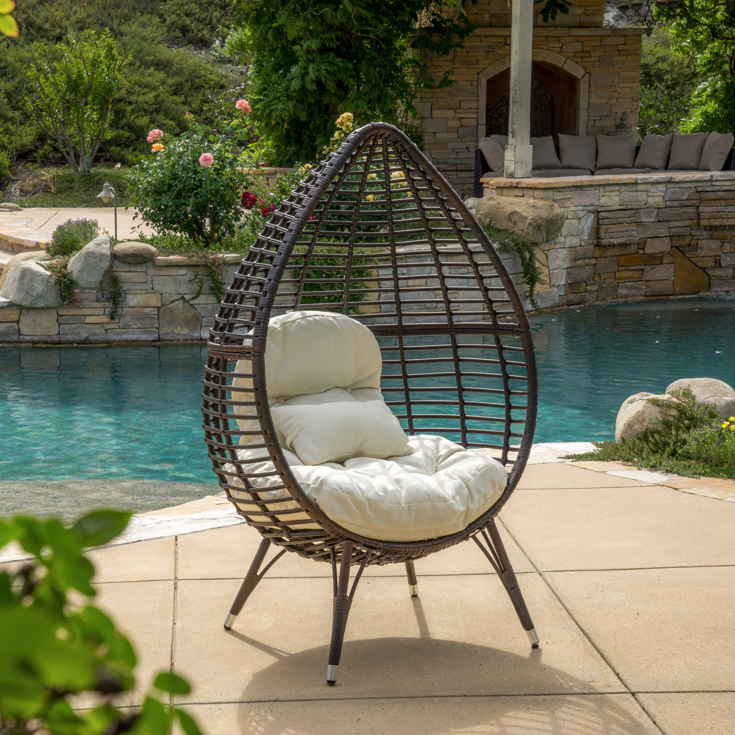 Outside Lounge Chairs Melton Teardrop Wicker Lounge Chair With Cushion Multibrown And Beige