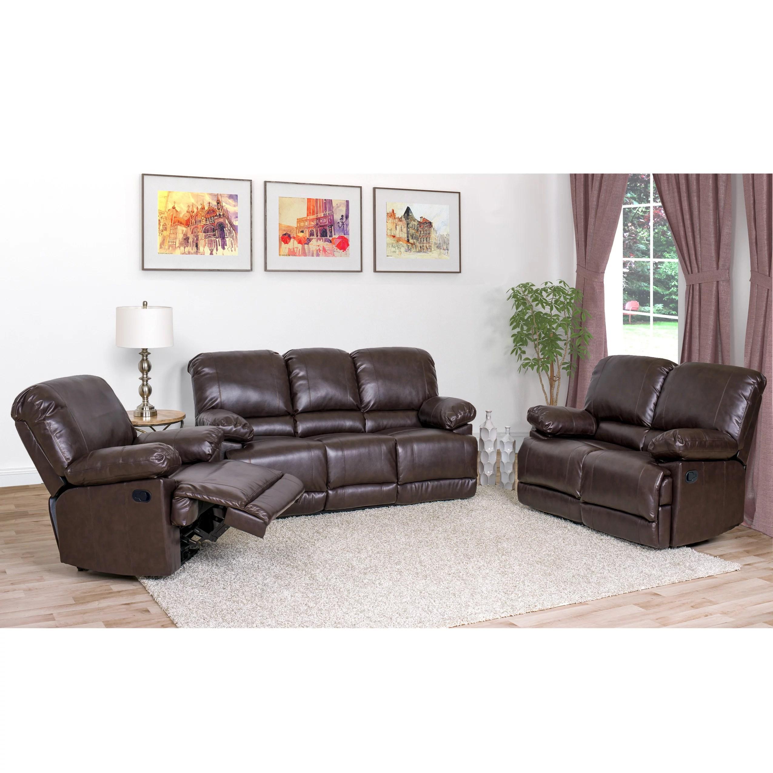 nora brown leather reclining 3 pc living room sofa set sofascore tottenham vs liverpool corliving 3pc bonded walmart