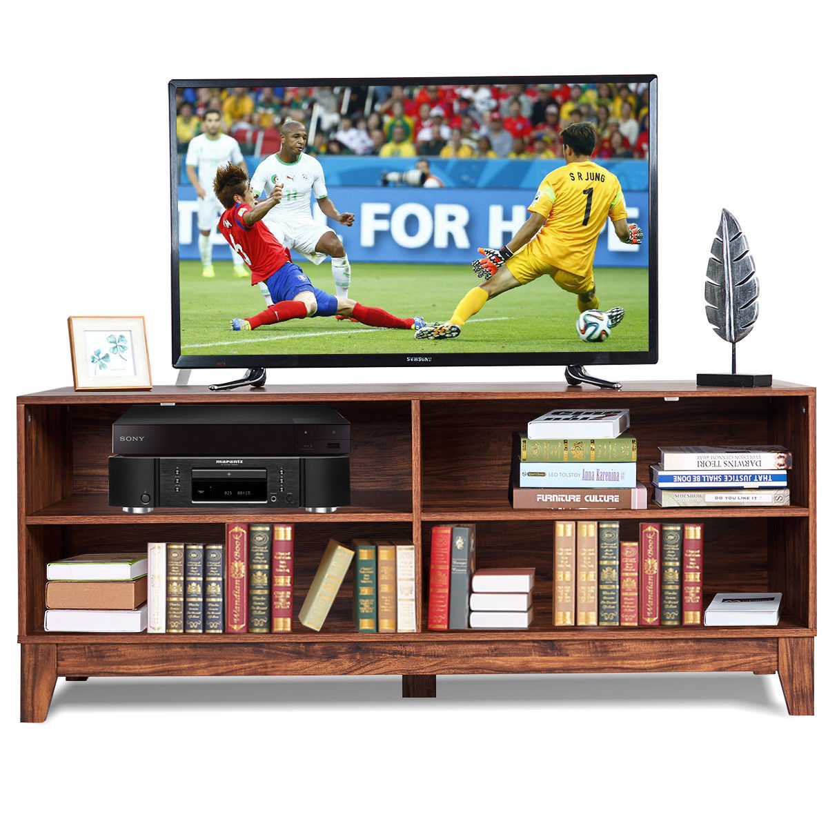 media center living room navy blue and brown ideas gymax 58 modern wood tv stand console storage entertainment