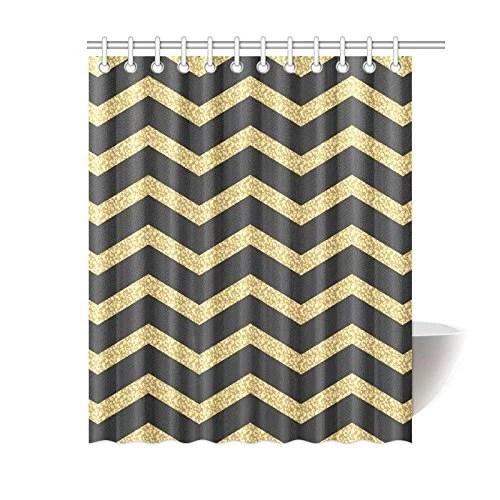 yusdecor chevron gold and black stripe polyester fabric bathroom shower curtain 60x72 inch