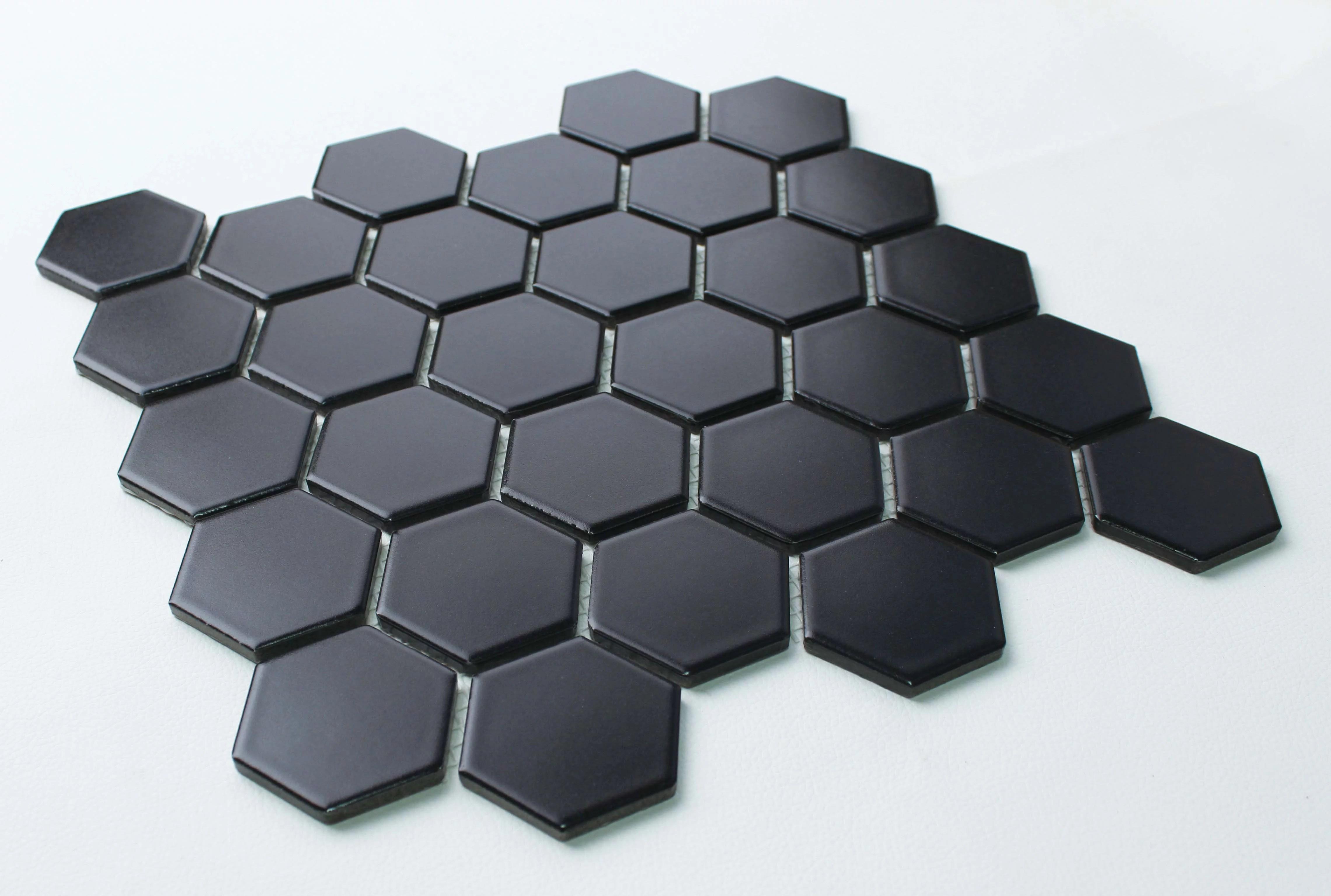 ws tiles value matte black 10 5 in x 10 5 in porcelain 2 hexagon mosaic floor wall tile 9 sq ft case walmart com
