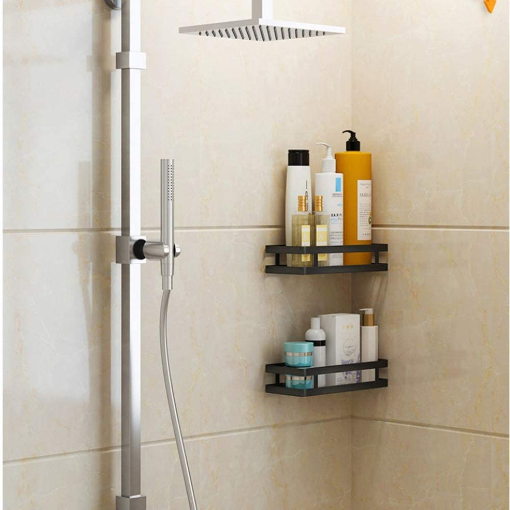 shower shelf without drilling 1 level black shower caddy kitchen shelf spice shelf nail free stainless steel wall shelf floating shelf for kitchen