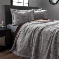 Faux Fur Comforter Set, 3 Piece Full/Queen Comforter and ...