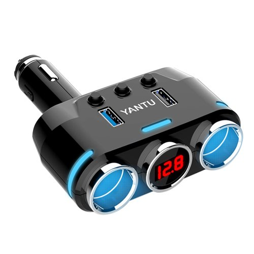 small resolution of cigarette lighter adapter 100w 3 1a dual usb cigarette lighter splitter car charger with voltage display car 12v dc car socket splitter with on off switch