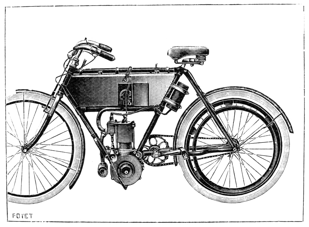 Motorcycle, 1904. /Ndesign By Werner. Line Engraving