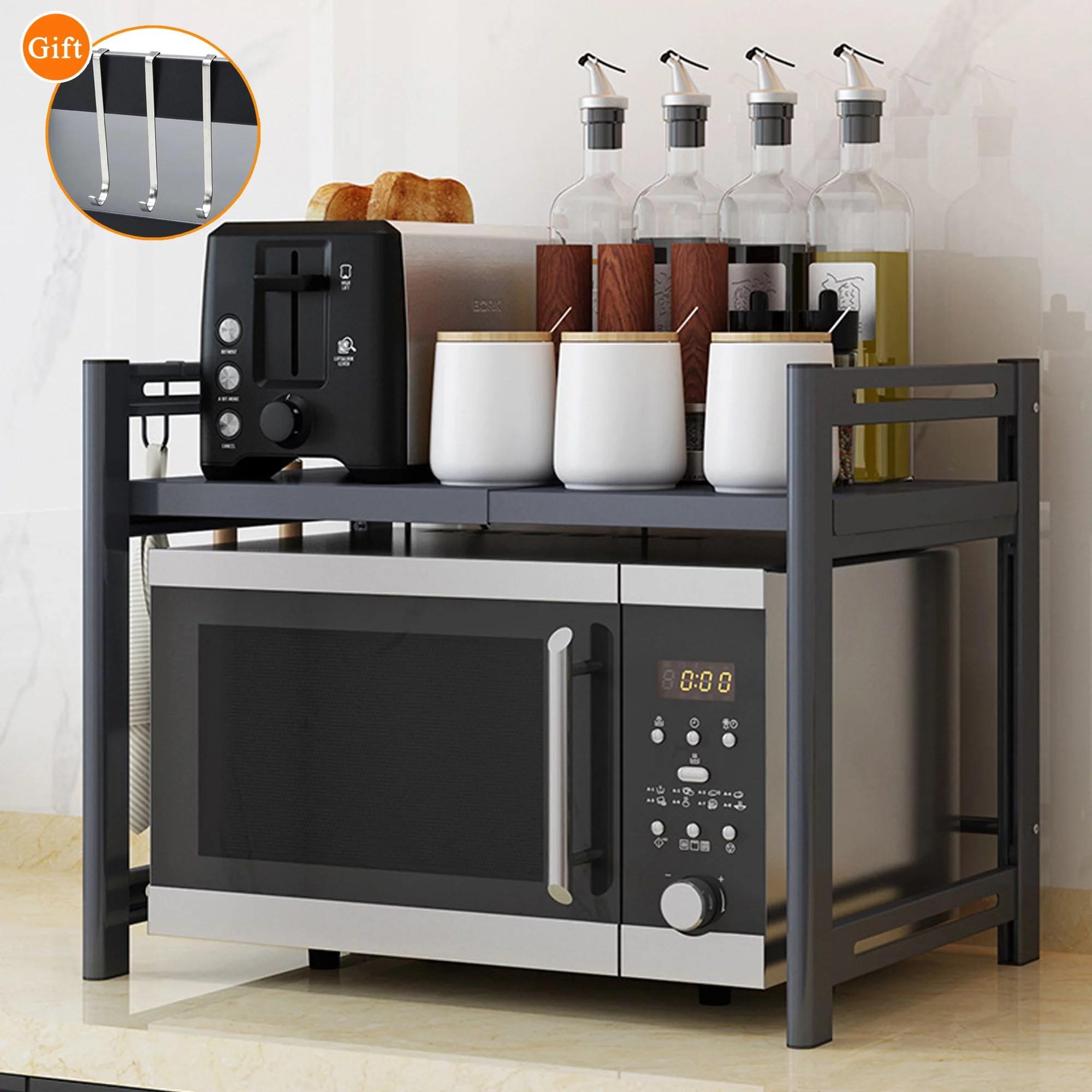 nk 2 tier kitchen shelf microwave oven rack stand storage cabinet holder organizer 26 x12 6 x20 5