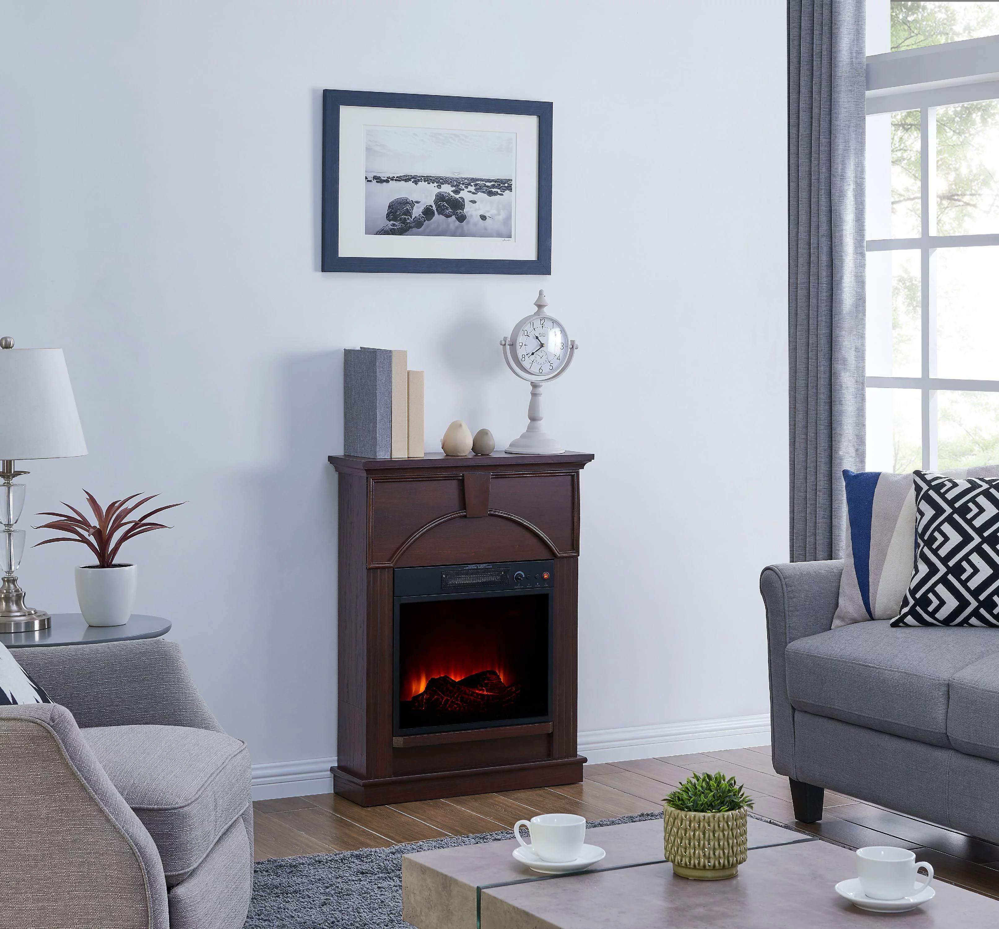 Bold Flame 48 Inch Electric Fireplace Heater In Dark