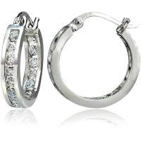 Channel-Set CZ Sterling Silver Hoop Earrings - Walmart.com
