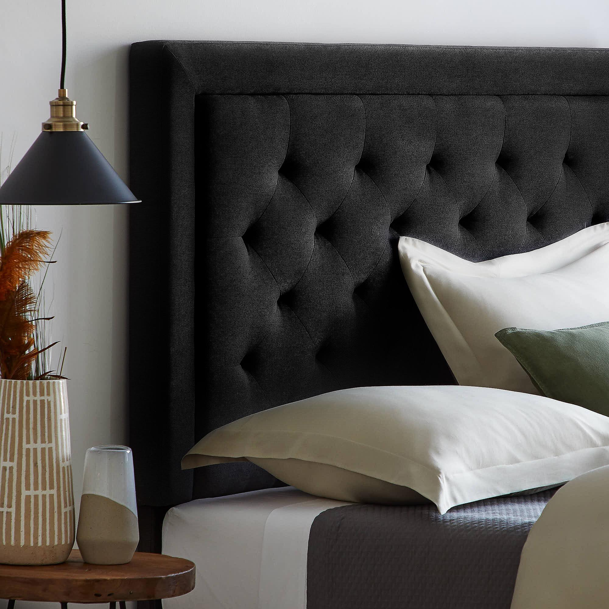 rest haven upholstered headboard with diamond tufting and rectangle bordered edges full full xl black