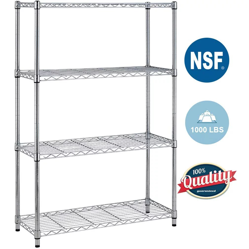 4 shelf wire shelving unit garage nsf wire shelf metal storage shelves heavy duty height adjustable for 1000 lbs capacity chrome