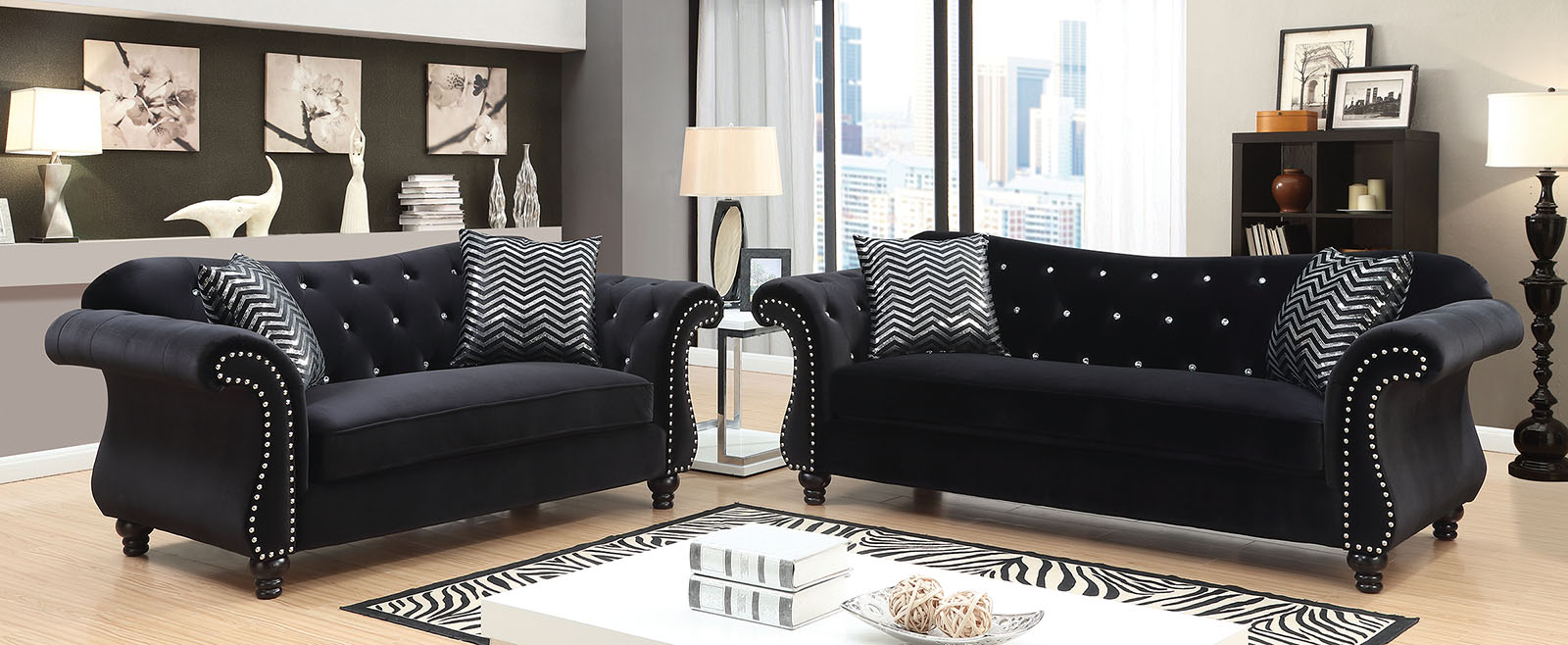 glam sofa set sectionals sofas big lots traditional formal living room black loveseat button tufted 2pc nailhead trim queen of castle relax walmart com