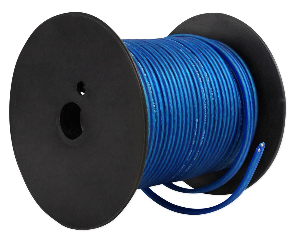 medium resolution of rockville r14gblu100 blue 14 gauge 100 foot mini spool car audio speaker wire walmart com