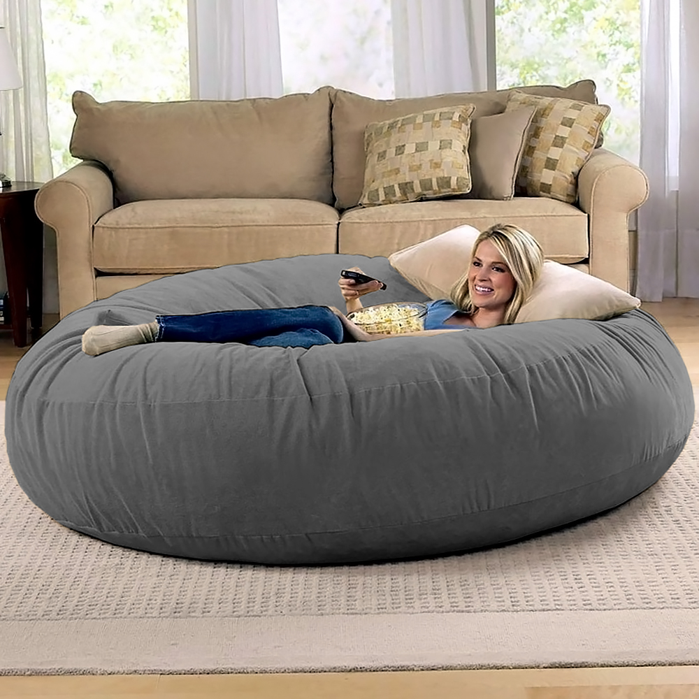jaxx bean bag chairs french metal 6 foot cocoon - large chair for adults, charcoal walmart.com