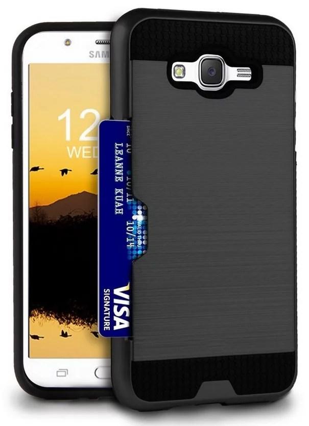 Galaxy J7 2015 Case. Credit Card Wallet Slot Hybrid Hard Cover for Samsung Galaxy J7 (2015 model) SM-J700 - Walmart.com