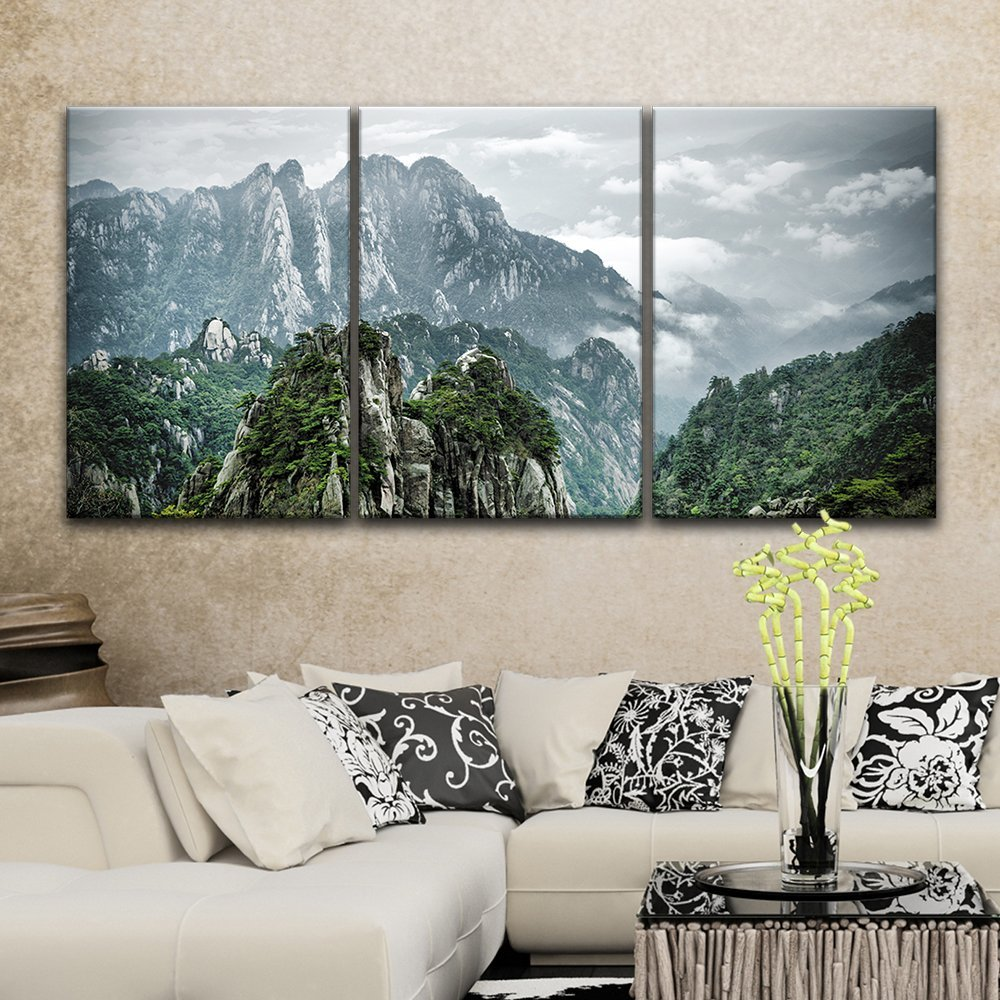 wall panel canvas wall art mountains landscape with green