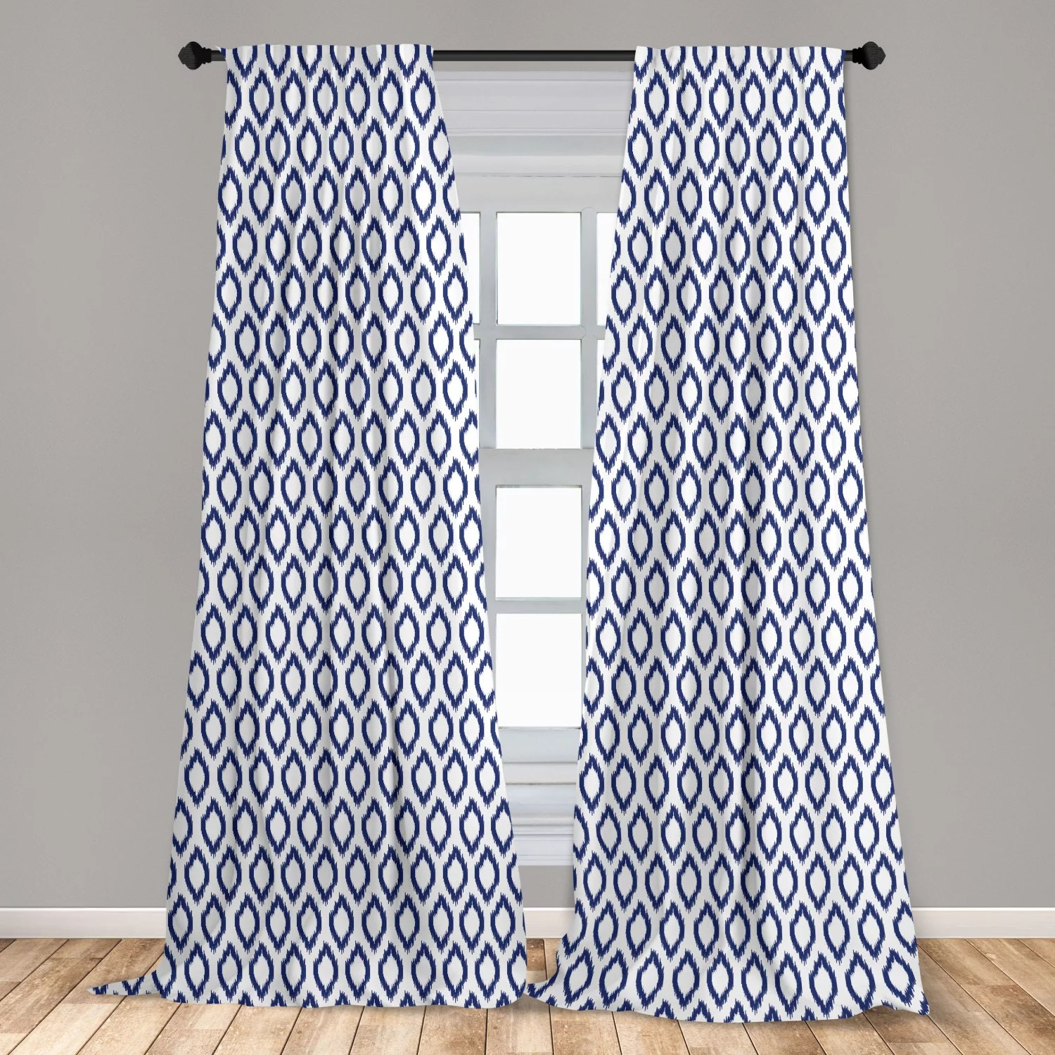 ikat curtains 2 panels set eastern ornament in blue exotic art elements curves simple design window drapes for living room bedroom navy blue white