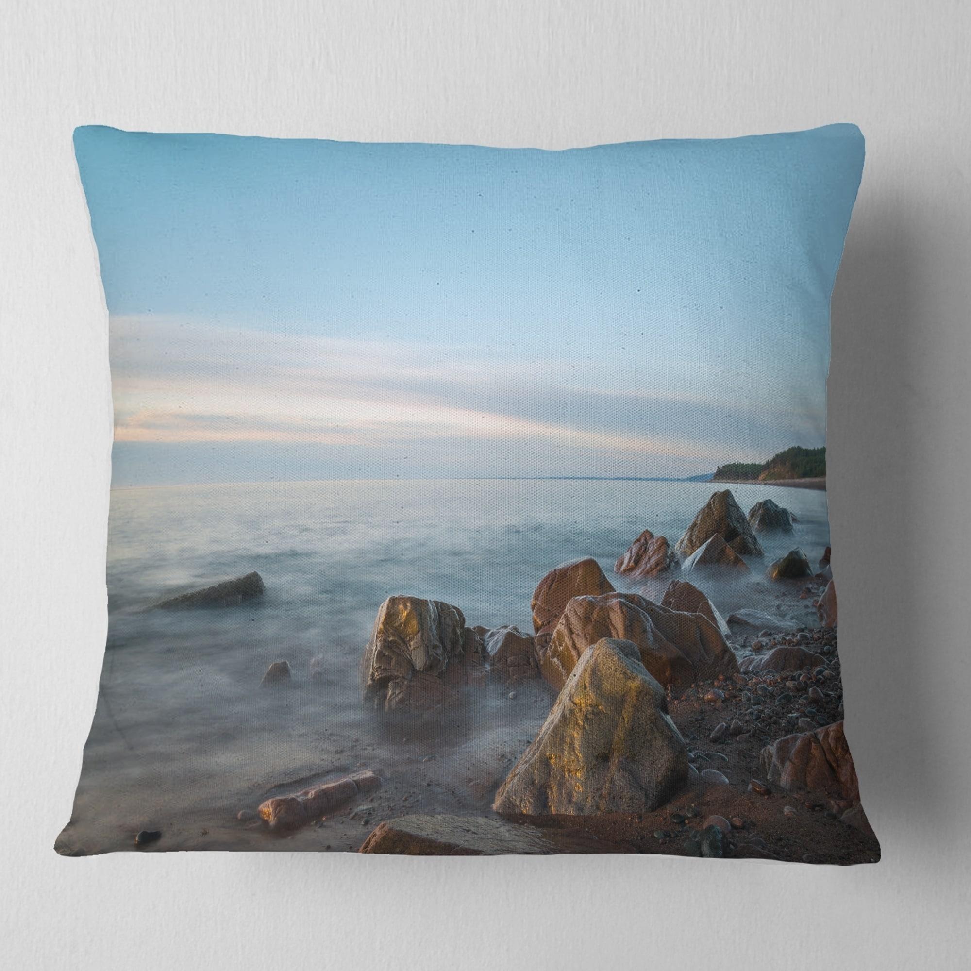 design art designart cape breton beach nova scotia canada modern seascape throw pillow