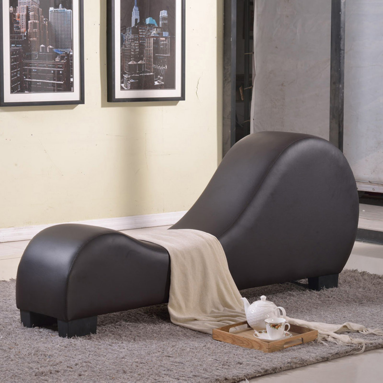lounge chair indoor covers wedding ayrshire upholstered chaise yoga lounger curved brown details