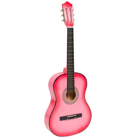 New Beginners Acoustic Guitar With Guitar Case, Strap, Digital E-Tuner and Pick Pink