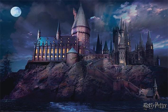 harry potter movie poster print hogwarts by night size 36 x 24