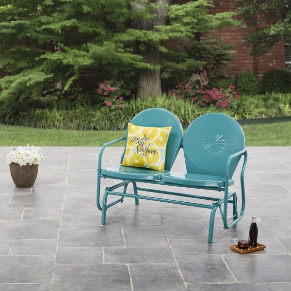 Vintage Metal Outdoor Glider Porch Patio Chair Loveseat