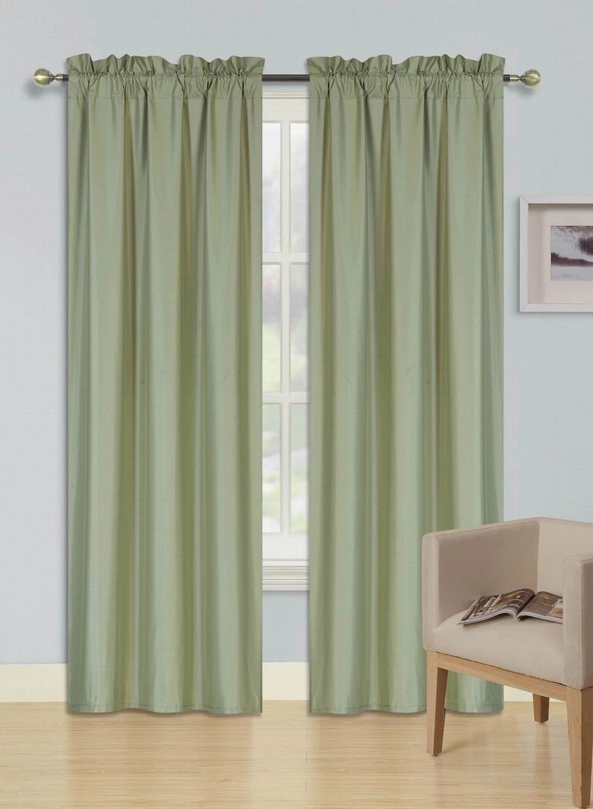 https www walmart com ip 2 panels sage green solid blackout thermal rod pocket foam lined window curtain drape r64 108 length 468727159