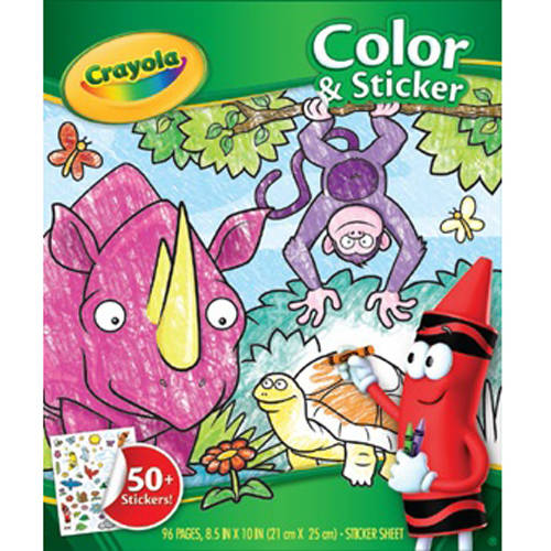 Crayola Jungle Animal Coloring Book With 50 Stickers Gift For Kids 96 Pages Walmart Com Walmart Com