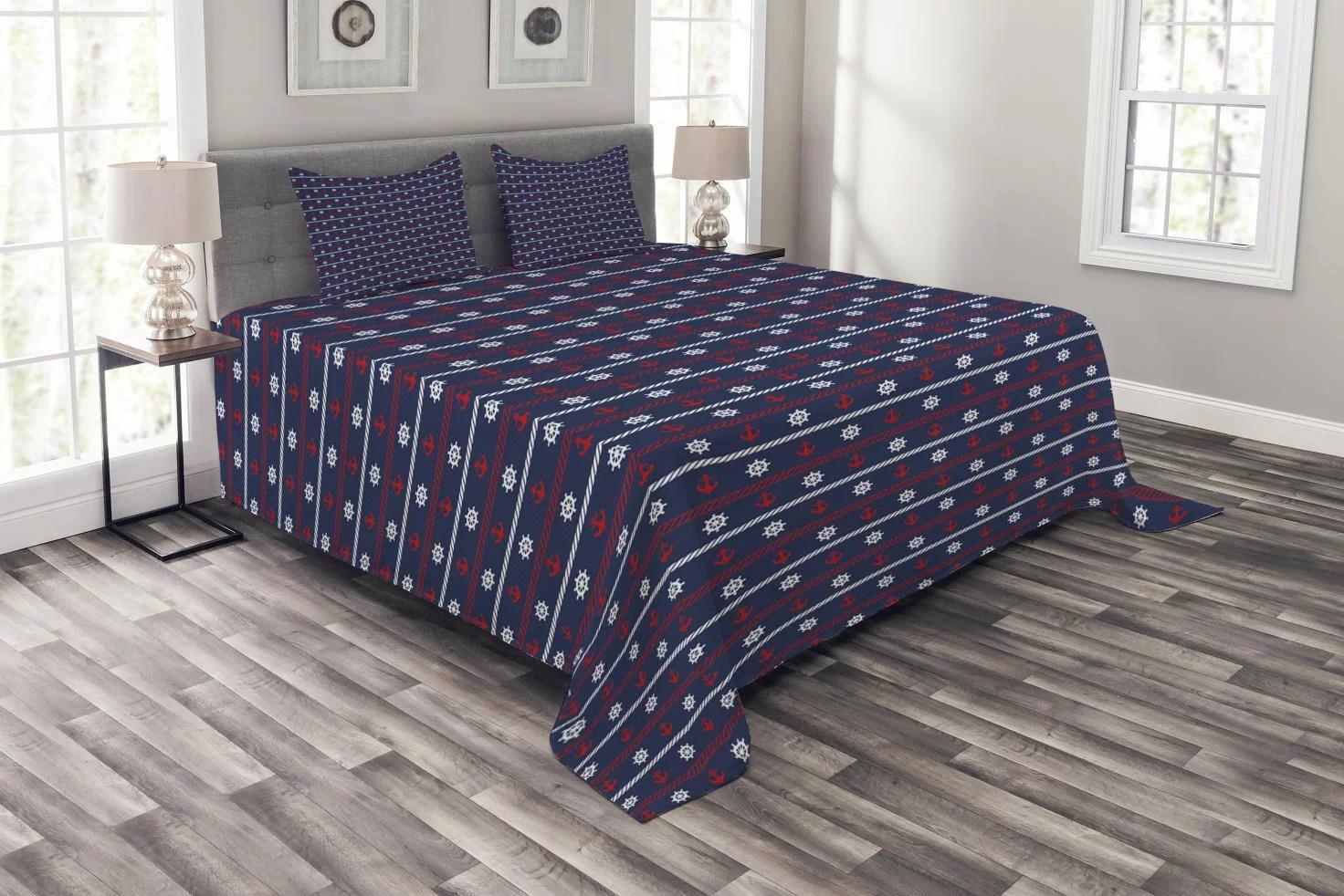 navy blue bedspread set