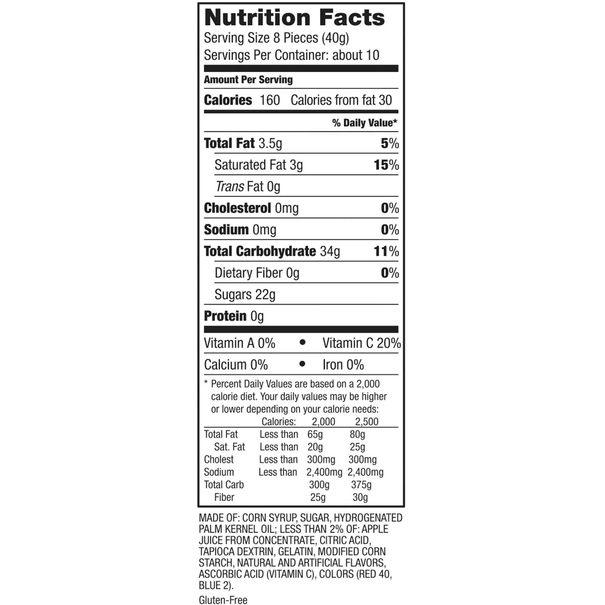 Starburst Nutrition Facts Per Piece | Besto Blog