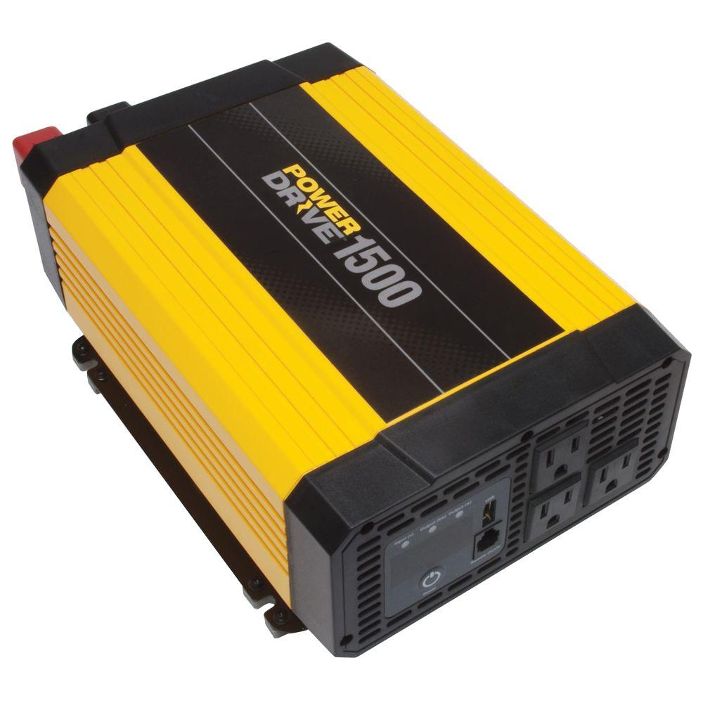 hight resolution of powerdrive 1500 watt dc to ac power inverter with usb port 3 ac outlets rppd1500 walmart com