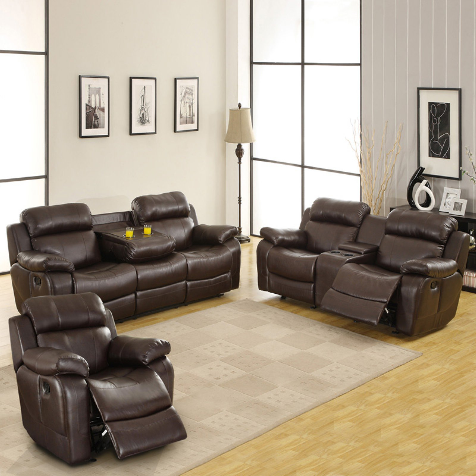 darrin leather sofa reviews standard sizes uk weston home reclining set with console ...