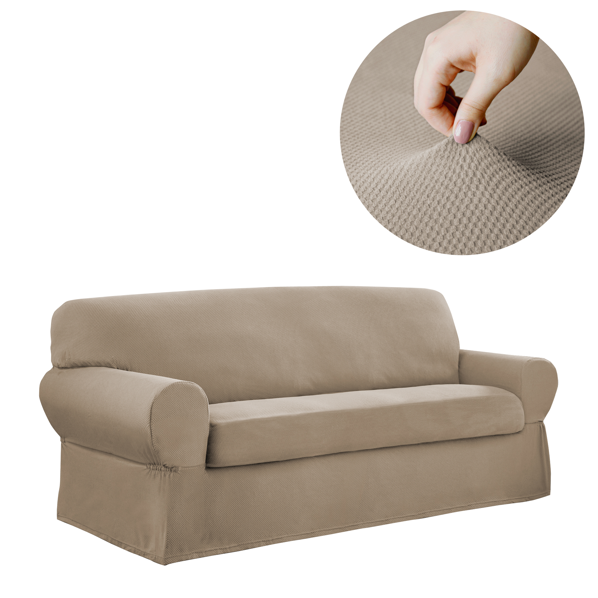 mainstays pixel 2 piece stretch sofa slipcover sand