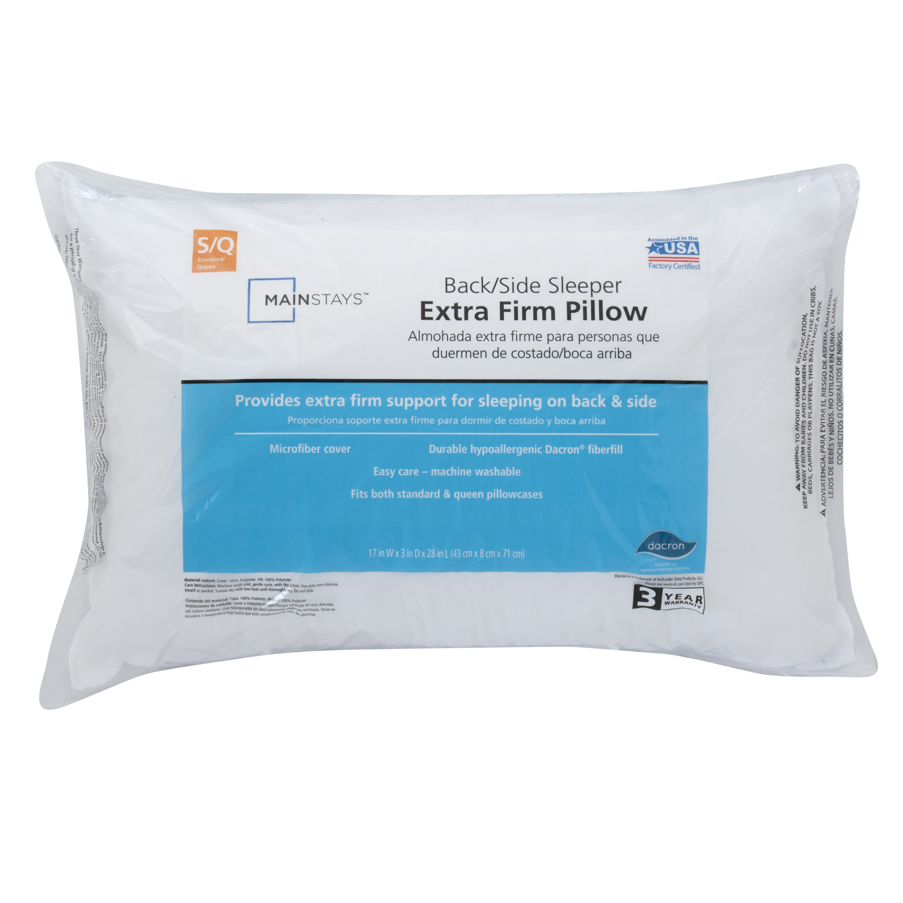 mainstays 100 polyester extra firm support pillow in multiple sizes